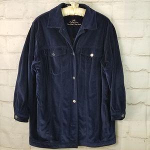 Vintage 16/18 Blue Velvet/Velour Button-Up Jacket
